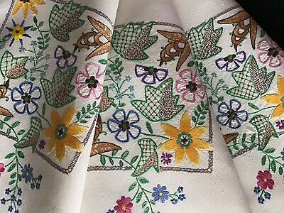 Gorgeous Vintage Linen Hand Embroidered Tablecloth ~ Jacobean Style Florals