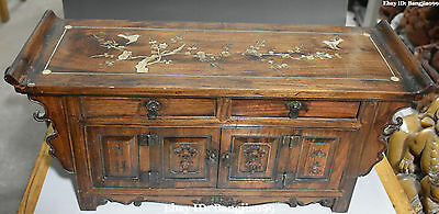 "22"" Chinese Boxwood Wood Shell Ancient Plum Blossom Cupboard Cabinet Box Case"