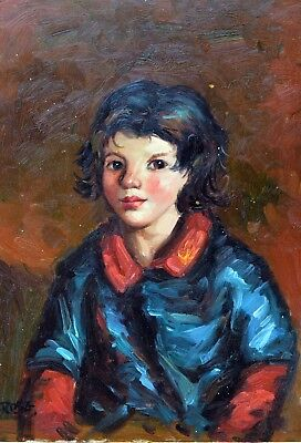 "Long Haired Boy Original Hand Painted 12""x16"" Oil Painting Figures Art"