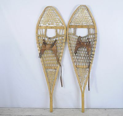 Antique/Vintage Wood Gros Louis Snowshoes Wood And Leather Good Fair Condition