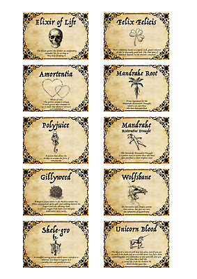 10 x Harry potter inspired potion labels