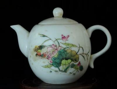 chinese old collection famille-rose porcelain hand painted lotus teapot