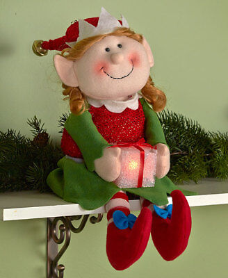 """Shelf Sitter Holiday Lighted Girl Elf  """"Alexis"""" Brand New Christmas Decoration"""