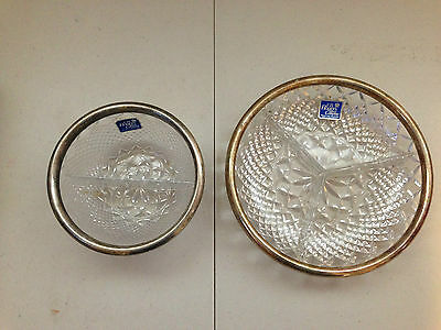 2 Vintage F.B. Rogers Lead Crystal Silver Plated Rim Divided Relish Dish & Bowl