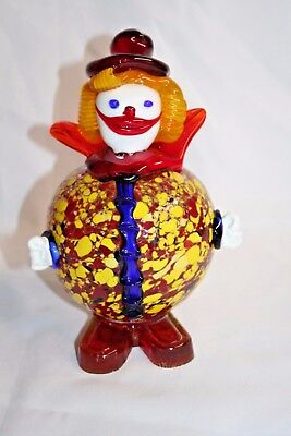 "VTG  Murano Art Glass Clown BUBBLE SPATTER GLASS BELLY  8-1/2"" TALL"
