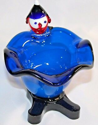 "VTG  Murano Art Glass Clown Ashtray,Bowl or Candy Dish Encased BLUE 4"" X 4.5"""