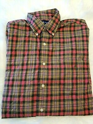 Mens Polo RALPH LAUREN Pink Green Plaid Longsleeve LINEN Button Down Shirt Large