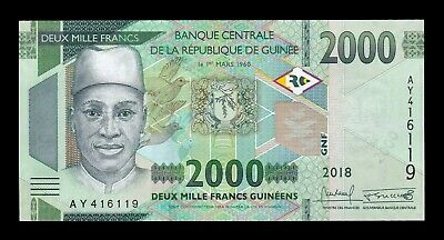 B-D-M Guinea 2000 Francs 2018 (2019) Pick New SC UNC