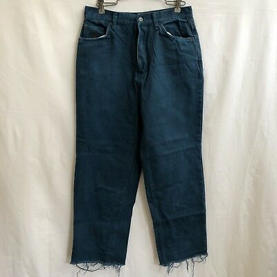 4090a80d3 Vintage Bugle Boy Jeans 90s Mens 30x28 Teal Turquoise Denim Frayed High  Waisted