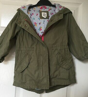 Girls parka jacket size 2 years brand GAP olive green used very little ok