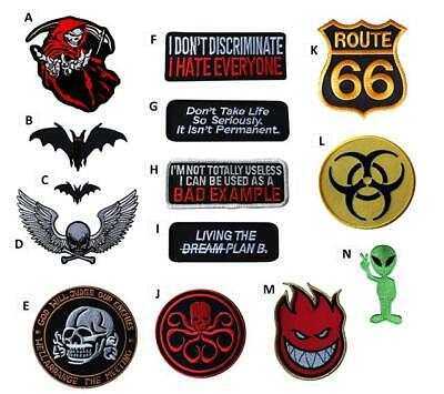 Biker Skull Embroidered Iron On Sew On Patches Badges Transfers Fancy Dress