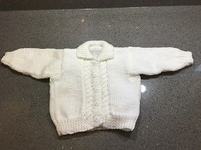 New Hand Knitted Girls White Aran Cardigan With Collar Size 6-12 Months