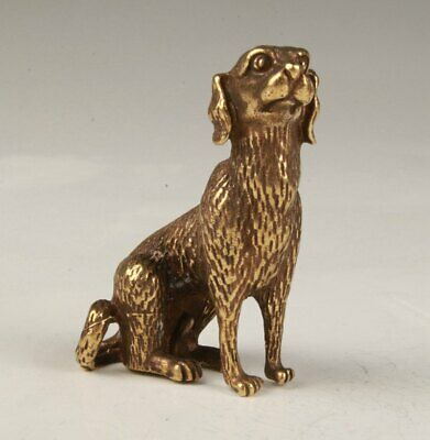 Rare Chinese Brass Hand-Carved Dog Statue Figurine Old Collection