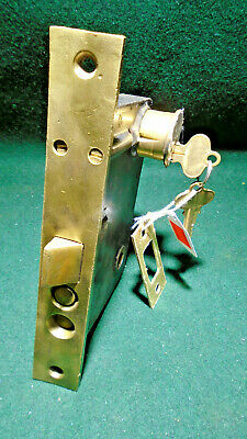 """VINTAGE: RUSSWIN P1248 1/2 ENTRY LOCK w/CYLINDER & KEY 7 3/4"""" FACE NICE  (9522)"""