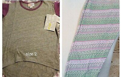 LuLaRoe Girls Size 2 Solid Purple & Gray Gracie Top & S/M 2-7 Leggings NWT