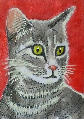 ACEO Original watercolor painting Cat animals