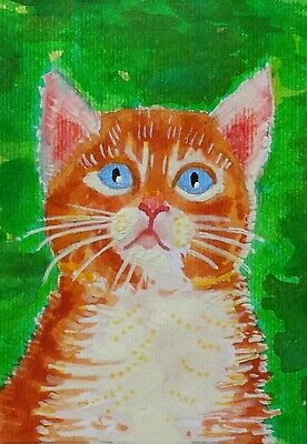 ACEO Original watercolor painting Kitten cats animals