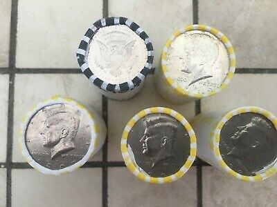 5  Bank Sealed Half Dollar Rolls With  Silver Kennedy And Proof Ender