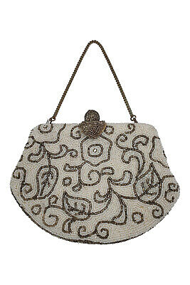 VINTAGE Microbeaded White Silver Chain Handle Flapper Purse (S)