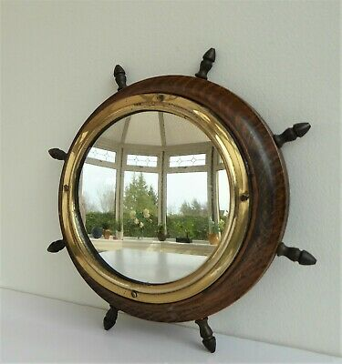 Small Wood And Brass Ship's Wheel Porthole Mirror Vintage Nautical