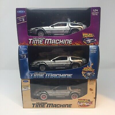 Welly 1:24 Delorean Time Machine Back To The Future Trilogy Diecast