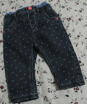 M&S Marks Baby Girl Denim Blue Lined Trousers Pants Polka Dots Age 6-9 Months