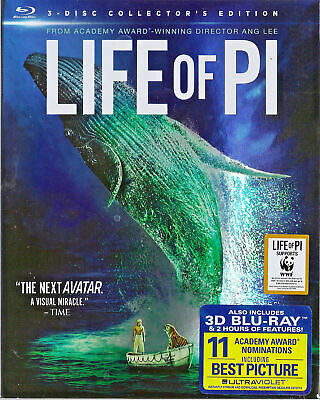 Life of Pi 3D and 2D Blu-Rays and DVD combo, 2012 Collector's Edition in Sleeve