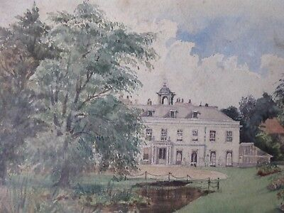 WATERCOLOUR LATE (19TH/EARLY (20TH COUNTRY-HOUSE SCENE UNSIGNED 20.2cm x 15.4cm
