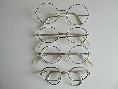 Lot of 4 Vintage Round and Oval Silver Metal Eyeglasses Frames Actuell, Etc. NOS