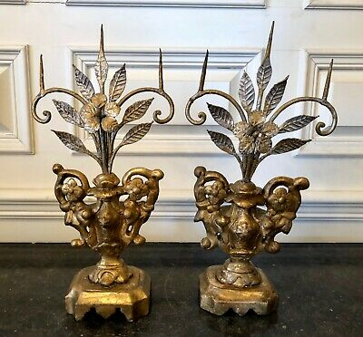 Pair of 18th Century Hand Carved Wood and Tole Metal Palmetto Candle Holders