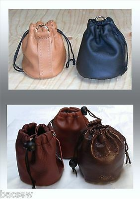 Leather Pellet Pouch / Purse / Bag Draw Up Cosplay ,Bushcraft *New* 12 Colours