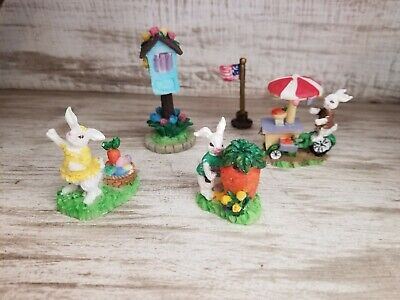 Easter Holiday Spring Bunny People Figurines Mailbox Flag Carrot Cart CUTE!