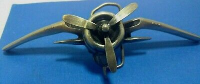 Bergmont brass works belt buckle P-39 moving propeller 1979 made in the USA nice
