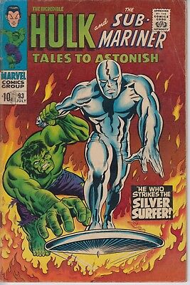 Tales to Astonish 93 - 1967 - Hulk vs Silver Surfer plus Sub-Mariner - Fine +