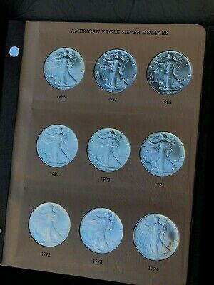 34 Coin Complete Silver Eagles Set W/ New Dansco Book 1986-2019 American BU UNC