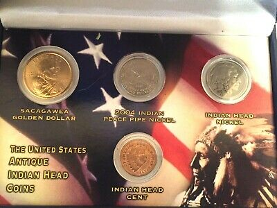 The United States Antique Indian Head Coins - 4 Piece Set
