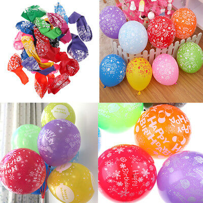 10Pcs 12 Inch Mix Color Happy Birthday Printed Latex Balloons Party Decoration T