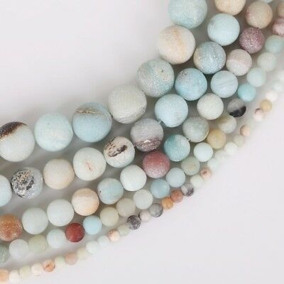 4/6/8/10mm Lot Natural Frosted Stone Loose Bead Bracelet Jewelry DIY Making