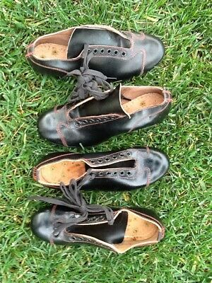 SUPER Pair MINTY Vintage Old Antique 1950s Black Leather AWESOME Baseball Cleats