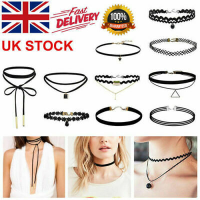 10x Choker Necklace For Women Girls Black Classic Velvet Stretch Neck Jewelry.