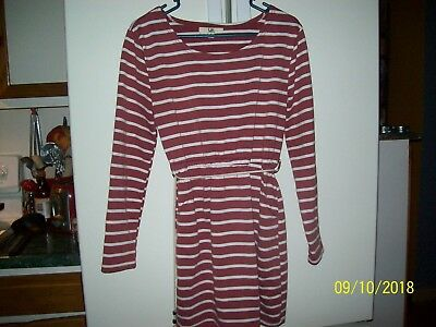 Ya Los Angeles long sleeve maroon and white stripe dress with rope (size large)