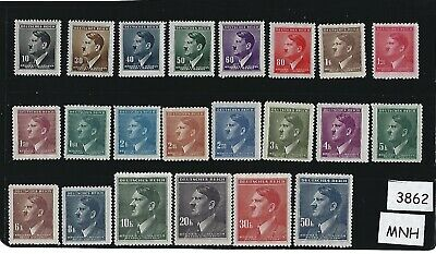 Complete Adolph Hitler stamp set / 1942 Nazi Issues / All 22 stamps are MNH