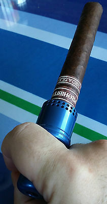 Cigar Cannon Premium Cigar Holder Blue Smoking Mouthpiece Not a Lighter Cohiba