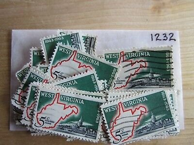 # 1232 x 100 Used US Stamps Lot  West Virginia Issue  See our other lots