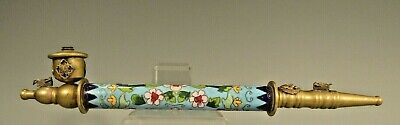 China Chinese Long Stem Cloisonne Floral Decor Pipe ca. early 20th century