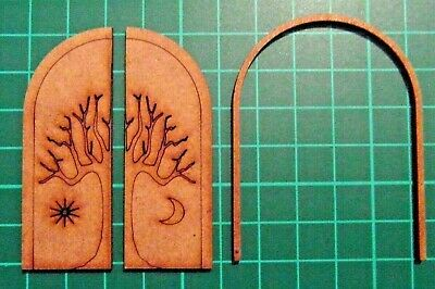 6 Pkt MDF Laser Cut 3 Part Tree Etched Doors 50mm wide x 65mm high x2mm thick