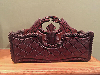 Beautiful Small Antique Dark Brown Hand Carved Cutlery Tote Letter Box Caddy
