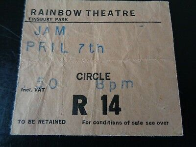 The Jam Original Concert Ticket Rainbow Theatre London April 7Th 1980