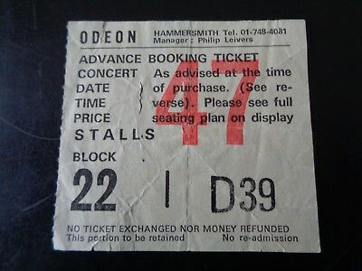 The Jam Original Concert Ticket Hammersmith Odeon Tuesday 18Th November 1980