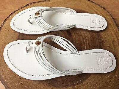 fc4a0f0dbaef TORY BURCH  SIENNA  Strappy Thong Sandal White Leather Size 9.5 ...